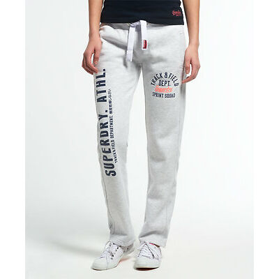 New Womens Superdry Trackster Non Cuffed Joggers Ice Marl