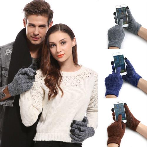 Men Women Winter Warm Kintted Full Finger Anti Slip Touch Screen Thermal Gloves