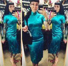 Cheongsam Asian Wiggle Teal Green Vintage Dress 12 Pinup Girl Retro Rockabilly