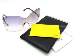 20cfb4250589 Image is loading Authentic-Fendi-Oversized-Rimless-Shield-Havana-Clear- Purple-