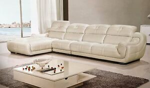 Details about 3 PC Italian Top Grain White Leather Sofa Chaise Chair  Sectional Living Room Set