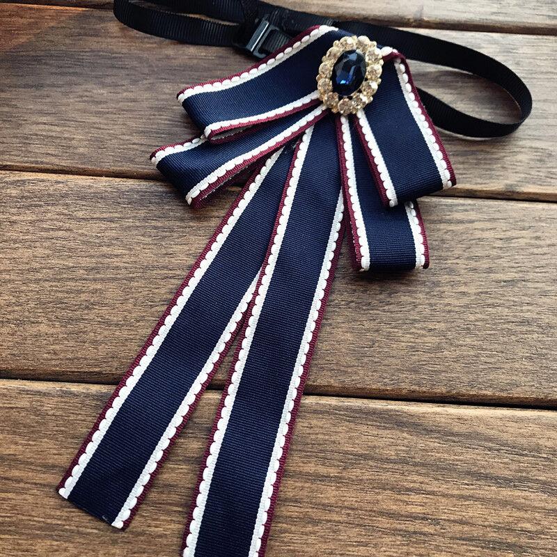 Blue Crystal Vintage Style Pre-tied Black Neck Tie Bowtie Women Accessory