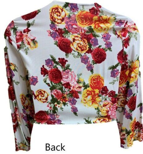 Floral Bolero Shrug Crop Top Women/'s Ladies Tie Up Open Front Gilet Primark