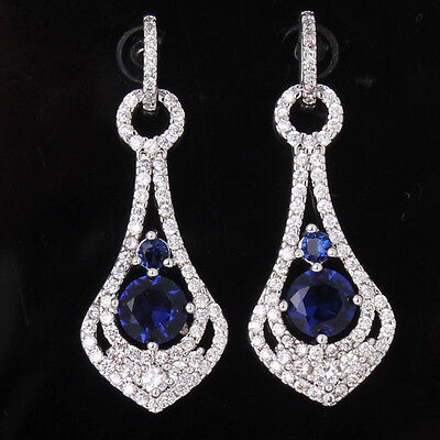 Noble 18k white gold filled blue Swarovski Chandelier dangle saphhire earring