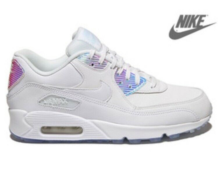 Nike Air Max 90 PRM Iridescent Hologram Mirror MultiColor Triple White Women's 6