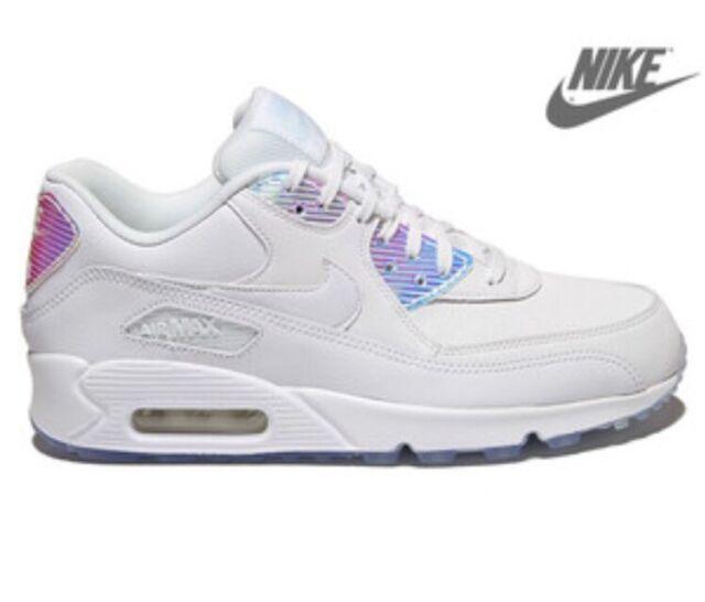 sports shoes 34980 7a640 Nike Air Max 90 PRM Iridescent Hologram Mirror MultiColor Triple White  Women 7.5