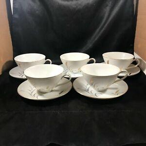 Vintage-CTSI-ETERNAL-HARVEST-Wheat-Pattern-Set-of-5-Cups-Saucers