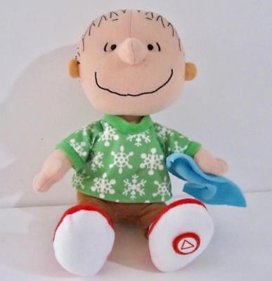 Linus Doll Blanket Talking Christmas Stuffed Plush Peanuts 10 in Peace Joy Good