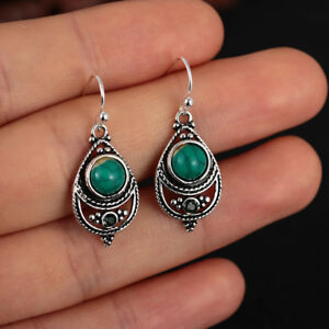 Women-Dangle-Boho-Vintage-Turquoise-Earrings-925-Silver-Natural-Gemstone-Hook