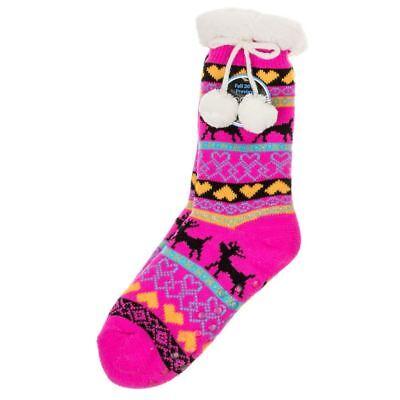 SCANDI Chaussons Chaussettes Nordic chaussons femme taille unique Snoozies avec pompon rose