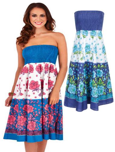 Pistachio Blue White Pink Aqua Floral Strapless Sundress Skirt Cotton UK 8-22