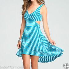 NWT bebe blue white hi low striped cutout back v neck flare top dress M medium