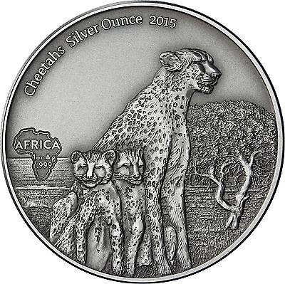 Afrika Serie Gabon 1000 Francs 2015 antique finish Gepard Cheetahs Silver Ounce