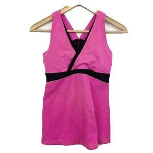 Lululemon Whisper Mesh Back with Pocket Hot Pink V Neck Tank top Size 6 USED