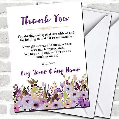 Purple Heart Flowers Wedding Thank You Cards