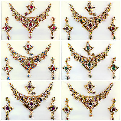 Bollywood Indian Jewelry Ethnic Gold Plated Wedding Party Necklace Earring Set