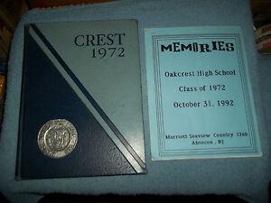 1972-OAKCREST-HIGH-SCHOOL-YEARBOOK-MAYS-LANDING-NJ-WITH-REUNION-MEMORIES-BOOKLET