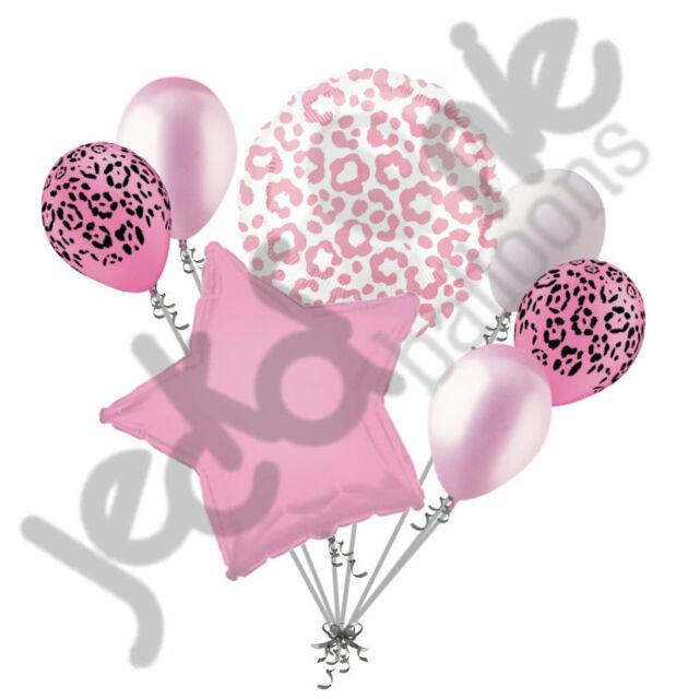 7 pc Pink Cheetah Print Balloon Bouquet Happy Birthday Girl Baby Shower Leopard