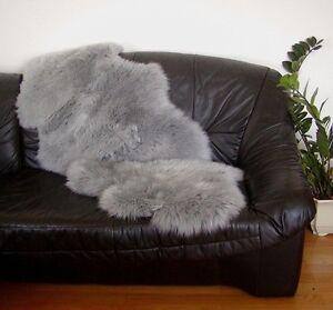 australische Doppel Lammfelle aus 2 Fellen grau gefärbt ... voll waschbar ca