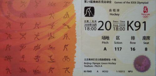 China K91 TICKET Olympia Beijing 2008 Hockey Women/'s Deutschland