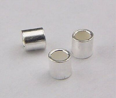 925 Sterling Silver 2x2mm Crimp Tube Spacer Beads 50pcs #5603-2