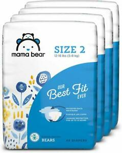 Mama Bear Best Fit Diapers Size 2 4 packs of 46 Packaging May Vary 184 Count Brand White Print