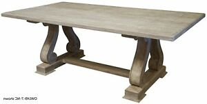 Details About 120 L Anna Dining Table Hand Crafted Reclaimed Solid Douglas Fir Trestle Base