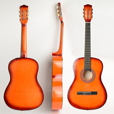 "38"" Orange 6-String Folk Acoustic Guitar Basswood for Beginners Music Lover"