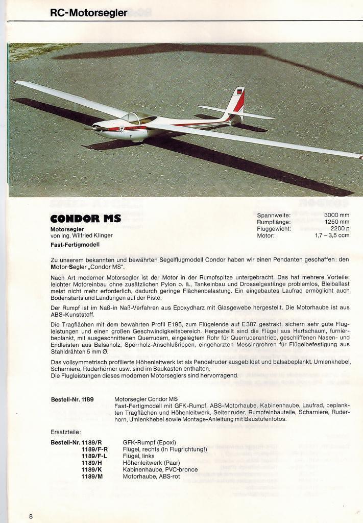 Wik-wilfried Klinger-cóndor segeler 3,0 m de envergadura-casi listo para vuelo