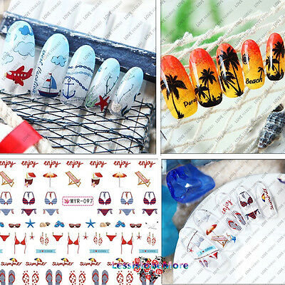 Set Love Summer Vacation Beach 3D Water Transfers Decal Nail Art Stickers Decors