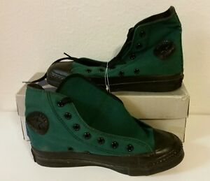 f36b0f03fb2454 NEW VTG 80s Converse Chuck Taylor Youth All Star Green Black Shoes ...