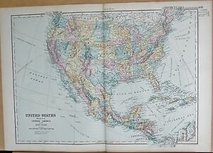 1890 LARGE VICTORIAN MAP - UNITED STATES, MEXICO, CENTRAL AMERICA | eBay