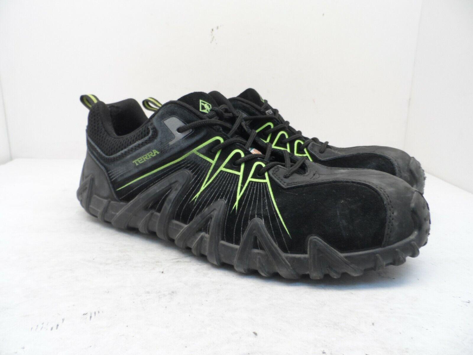 Terra Men's Spider 3.0 Composite Toe Work Shoe Black/Black/Green Size 10.5M