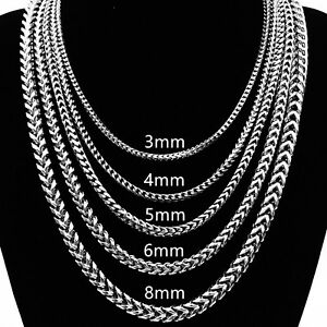 """3//4//5//6MM 18-36/"""" Silver Stainless Steel Wheat Braided Chains Men Necklaces"""