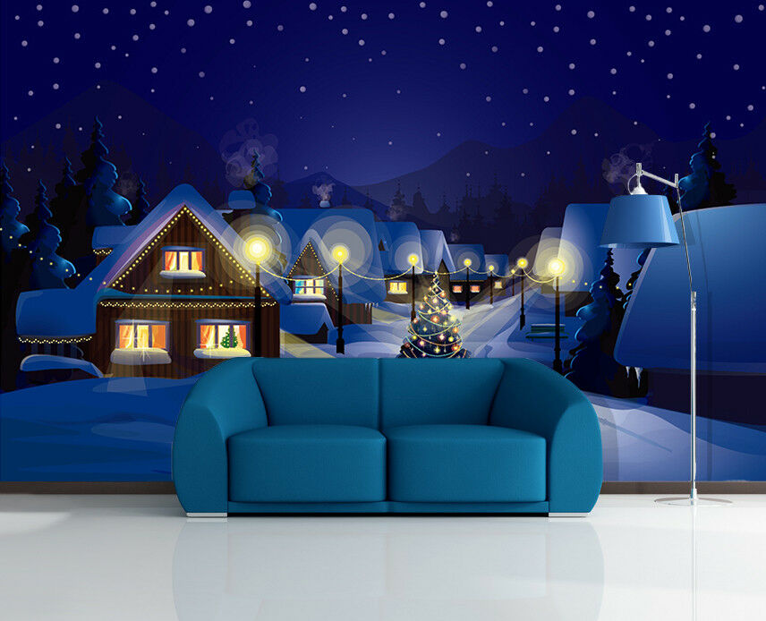 3D Snow House Lights 536 Wallpaper Murals Wall Print Wallpaper Mural AJ WALL AU