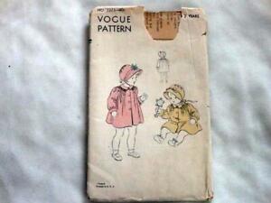 1940's Vogue Girls Coat & Bonnet Pattern Size 2 new/ff