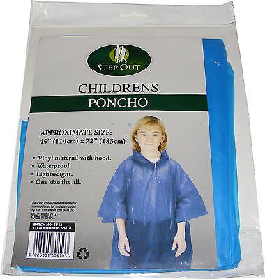 Bambini Dei Blu Impermeabile Vinile Plastica Poncho Con Cappuccio - Taglia Unica Elegante E Grazioso