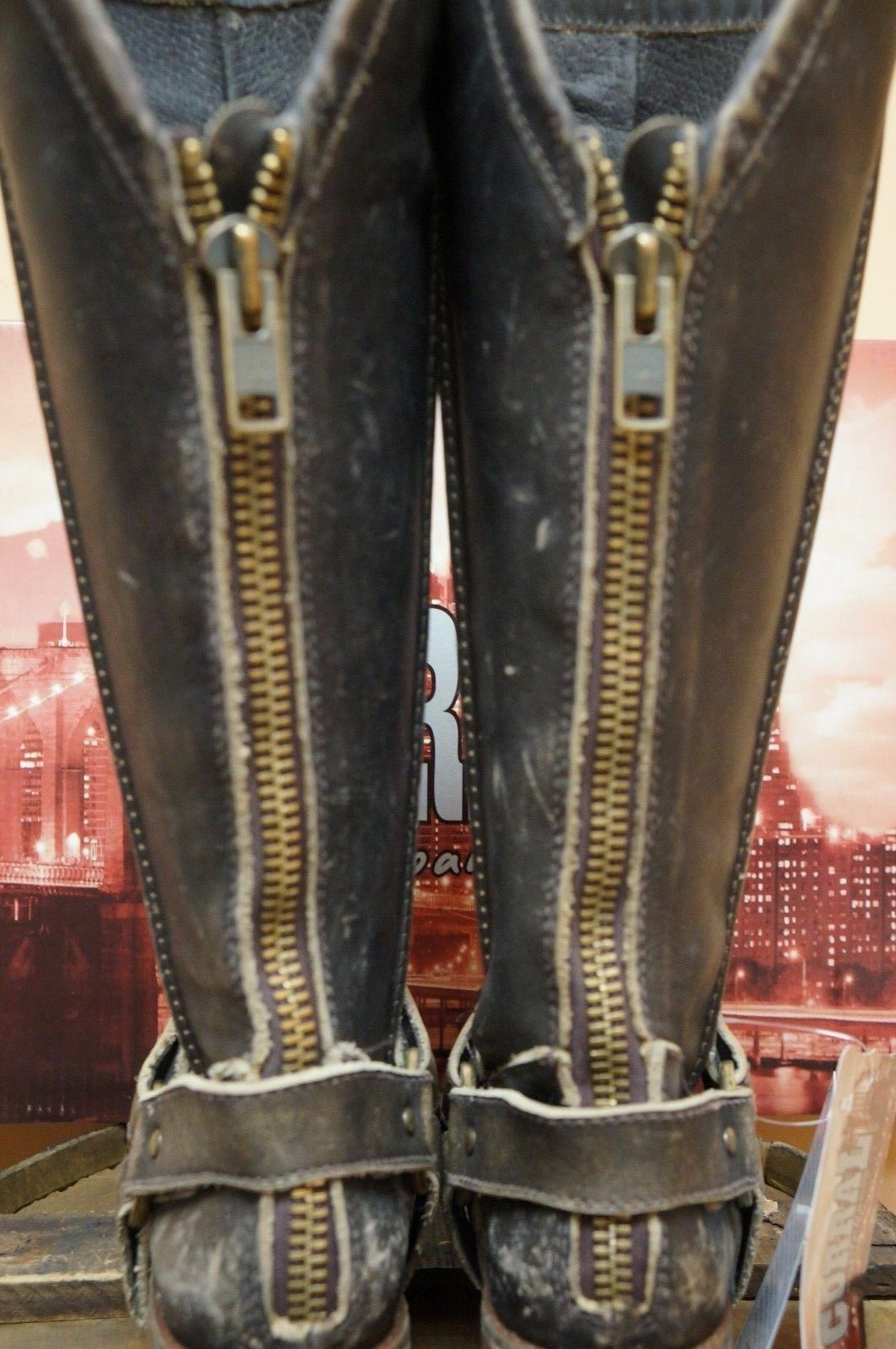 LADIES TALL WESTERN bottes DISTRESSED DISTRESSED DISTRESSED marron WITH HARNESS BY CORRAL P5100 822425