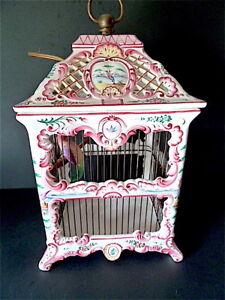 Intelligent Lustre Lampe Cage Oiseaux Faïence Ceramique Romantique Rocaille St Louis Xv Non Repassant