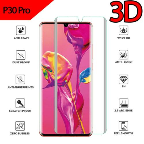 New For Huawei P30 Pro Tempered Glass Screen Protector 3D Full Protection Pack