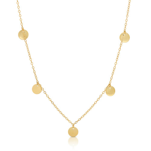 14k Solid Yellow Gold Coin Collier//Disque Collier réglable 15 in environ 38.10 cm