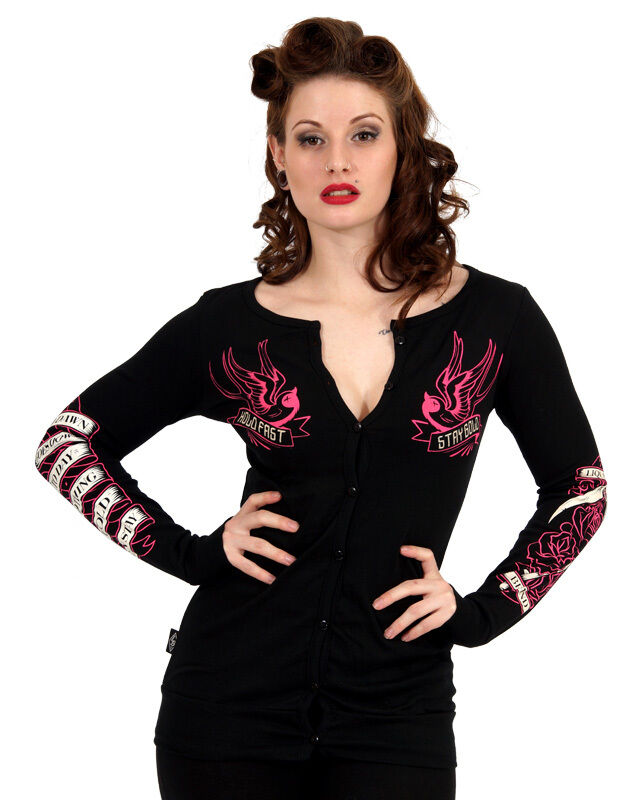 Liquor Brand Damen STAY Gold Cardigans.Rockabilly,Oldschool,Pin up,Tattoo Style