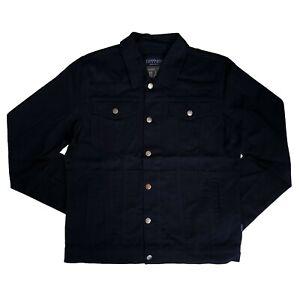 Tripp-NYC-70s-80s-Gothic-Horror-Punk-Mens-Black-Denim-Jean-Trucker-Jacket-Size-L