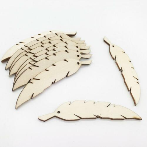 50 Stück Unfertige Holzfedern Form Holzteile Mit Loch Für Handwerk