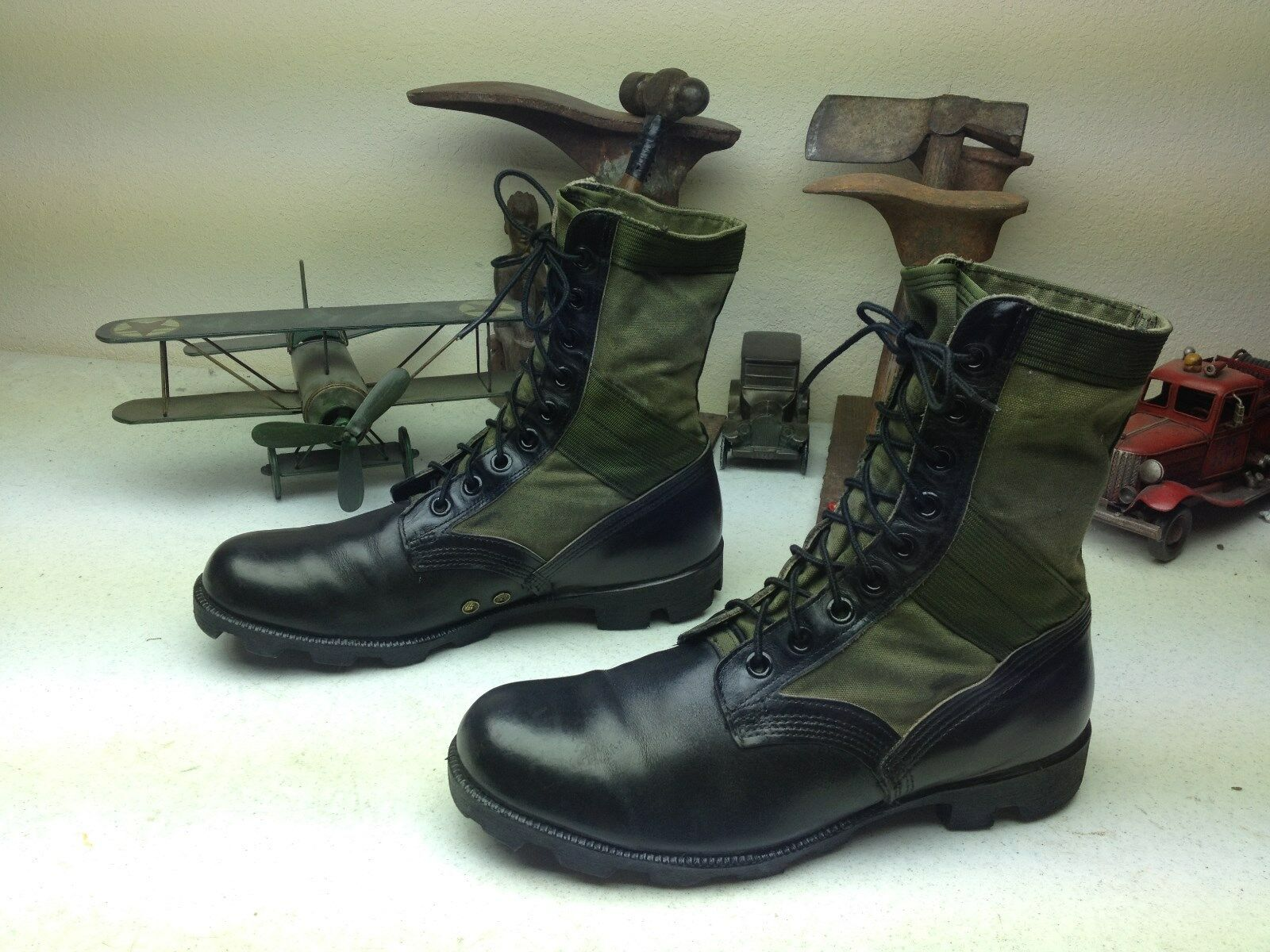 VINTAGE 1989 USA RO-SEARCH schwarz LEATHER MILITARY ENGINEER JUNGLE Stiefel 11.5 R