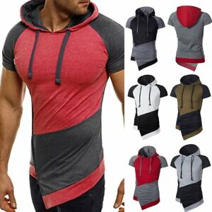 Men-039-s-Slim-Fit-Hoodie-Hooded-Shirts-Short-Sleeve-Muscle-Tee-T-shirt-Casual-Tops