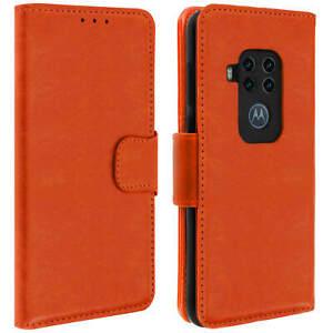 SERIE-vintage-Custodia-Flip-Wallet-per-Motorola-uno-zoom-Arancione