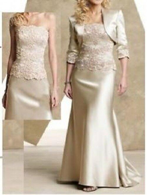 2018 NEU Champagner Hochzeitskleid abendkleider ballkleider + Bolero Kostenlos