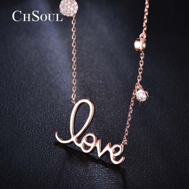 Trendy LOVE Pendant Crystal CZ Chain Fashion Women Lady Cocktail Party Necklace