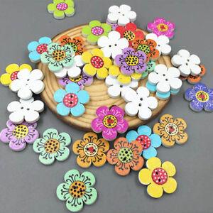 50-100PCS-Scrapbooking-Costura-2-Holes-De-Botones-De-Madera-Flor-Puntos